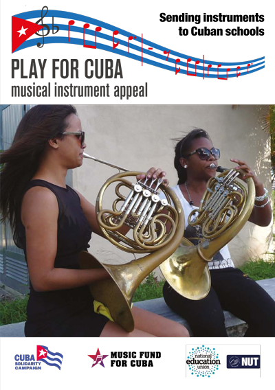 Play for Cuba musical instrument appeal leaflet